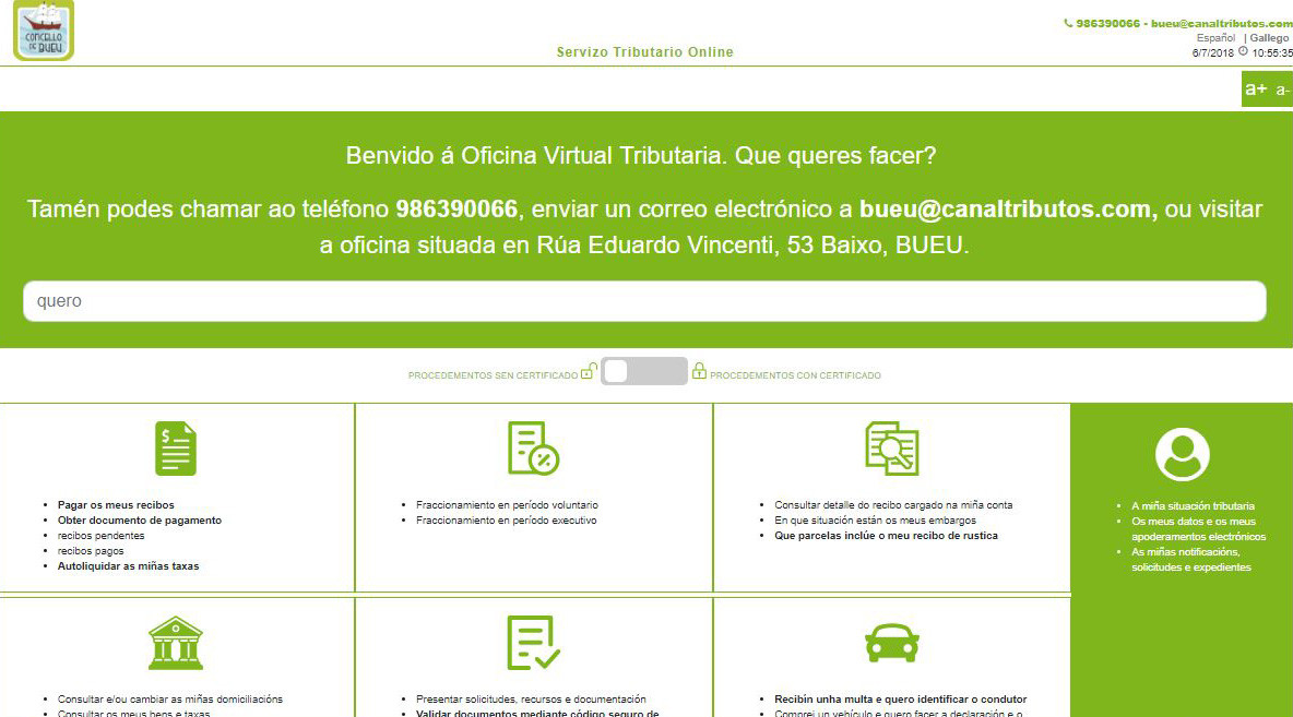 Bueu activa unha oficina virtual para asuntos tributarios for Oficina tributaria