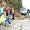 Accidente do trailer na N-550 en Barro
